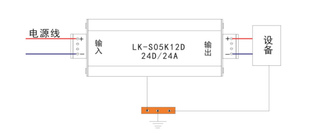 产品规格尺寸  使用说明 1. 防雷器串接在被保护设备与电源线路之间。 2. 防雷器的输入端(IN)的+、-分别与电源的+、-相连,输出端(OUT)的+、-分别与被保护设备的正负极相连,不能接反。 3. 把防雷器的接地线与防雷系统接地线可靠连接。 4. 本产品无须特别维护。当系统工作出现故障怀疑防雷器时,可拆出防雷器后再检查,若还原到使用前的状态后系统恢复正常,则说明防雷器已经损坏,必须立即更换。 安装示意图